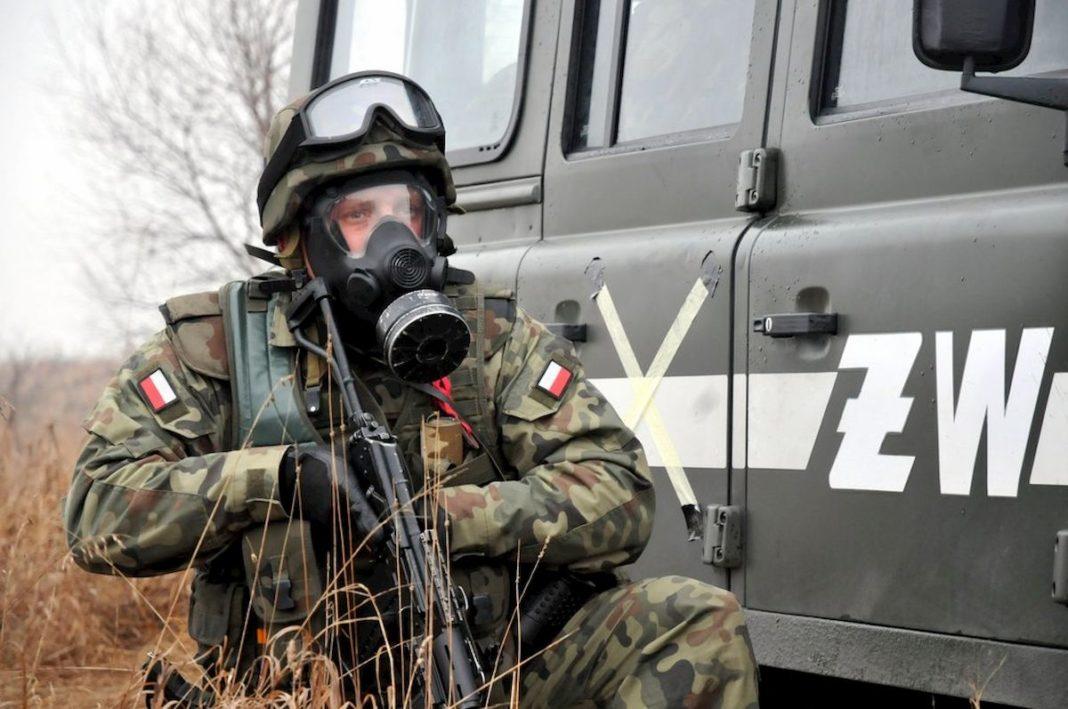 Żołnierz wmasce przeciwgazowej. Fot.Internet