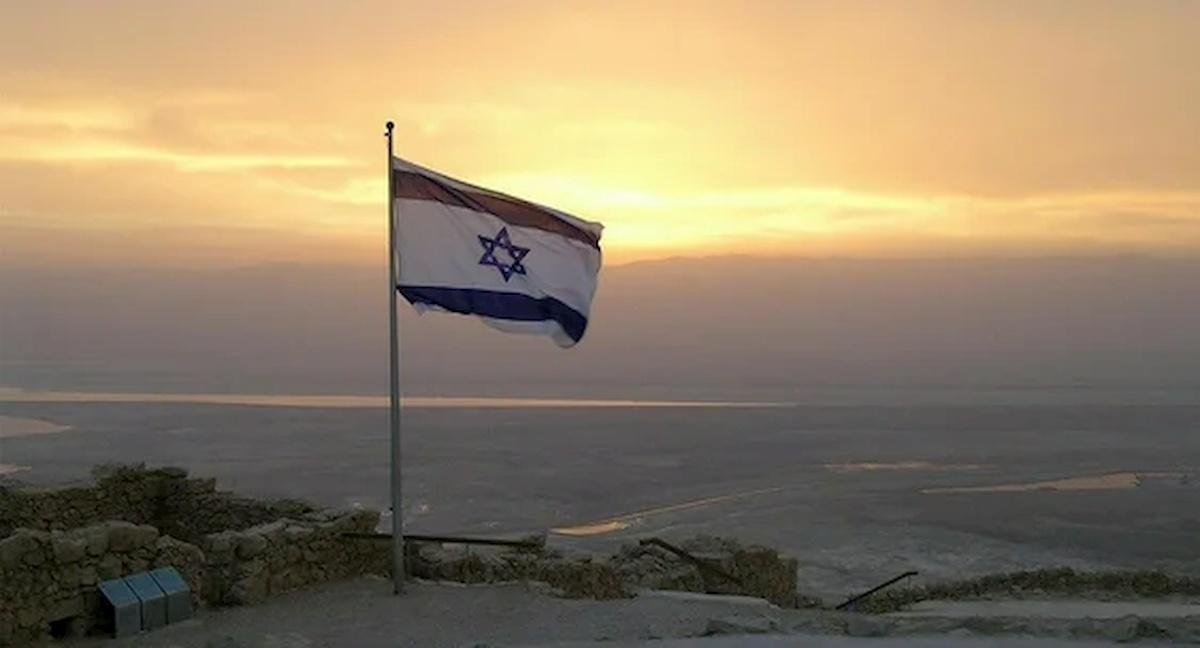 Izraelska flaga naZachodnim Brzegu. Fot.domena publiczna