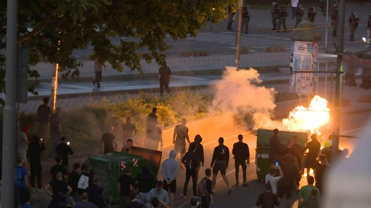 Zamieszki wBelgradzie. Fot.YouTube
